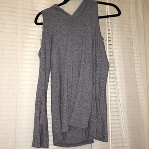 Cold shoulder, hooded, bell sleeve sweater!